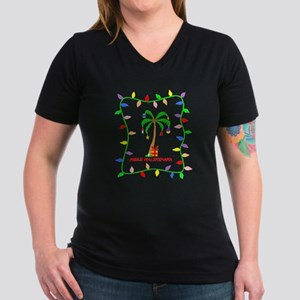 MELE KALIKIMAKA Women's V-Neck Dark T-Shirt